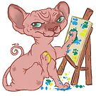 Sphynx Cat Paints by Lacey  Ewald