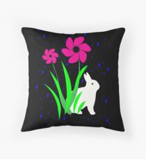 White Bunny with Flowers by Julie Everhart Throw Pillow