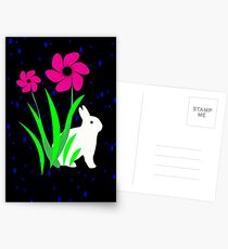 White Bunny with Flowers by Julie Everhart Postcards