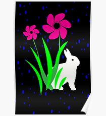 White Bunny with Flowers by Julie Everhart Poster