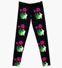White Bunny with Flowers by Julie Everhart Leggings