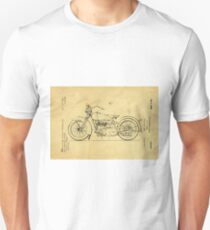 Motorcycle Support Patent Drawing From 1925 Unisex T-Shirt