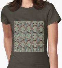 Art deco,teal,brown,1920 era,Great Gatsby,retro,vintage,elegant,chic,fan,pattern Women's Fitted T-Shirt
