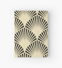 Art deco,black,beige,rustic,vintage,fan,pattern,elegant,chic Hardcover Journal