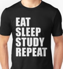 Eat Sleep Study Repeat Sport Shirt Funny Cute Gift For Studying Student High School College Unisex T-Shirt