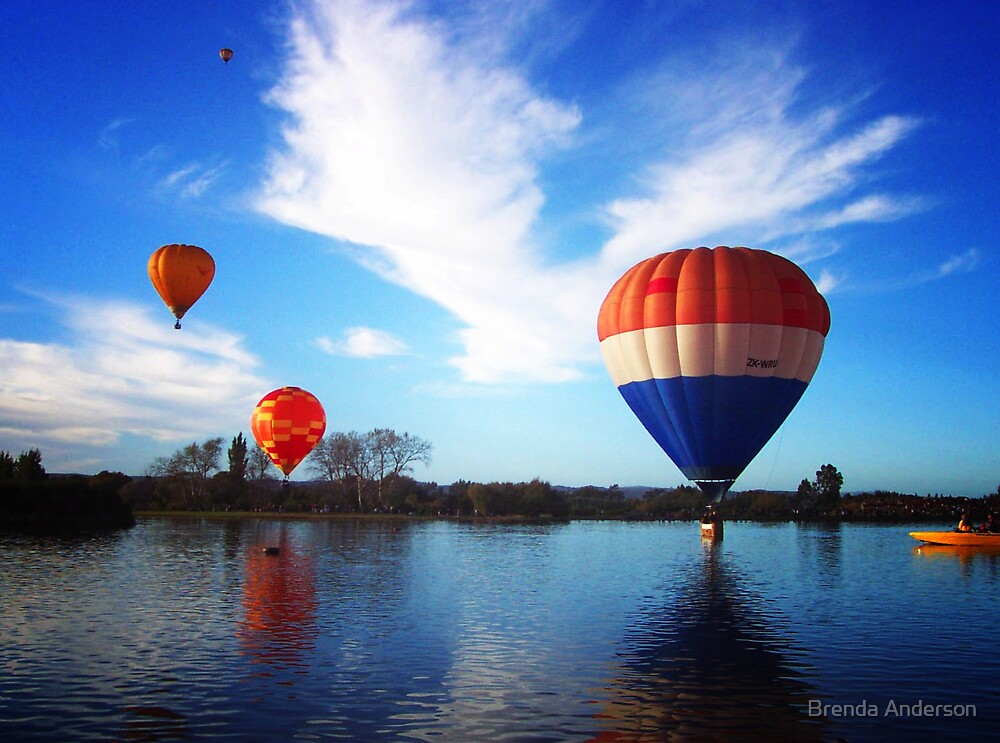 Balloons in Orange and Blue by Brenda Anderson