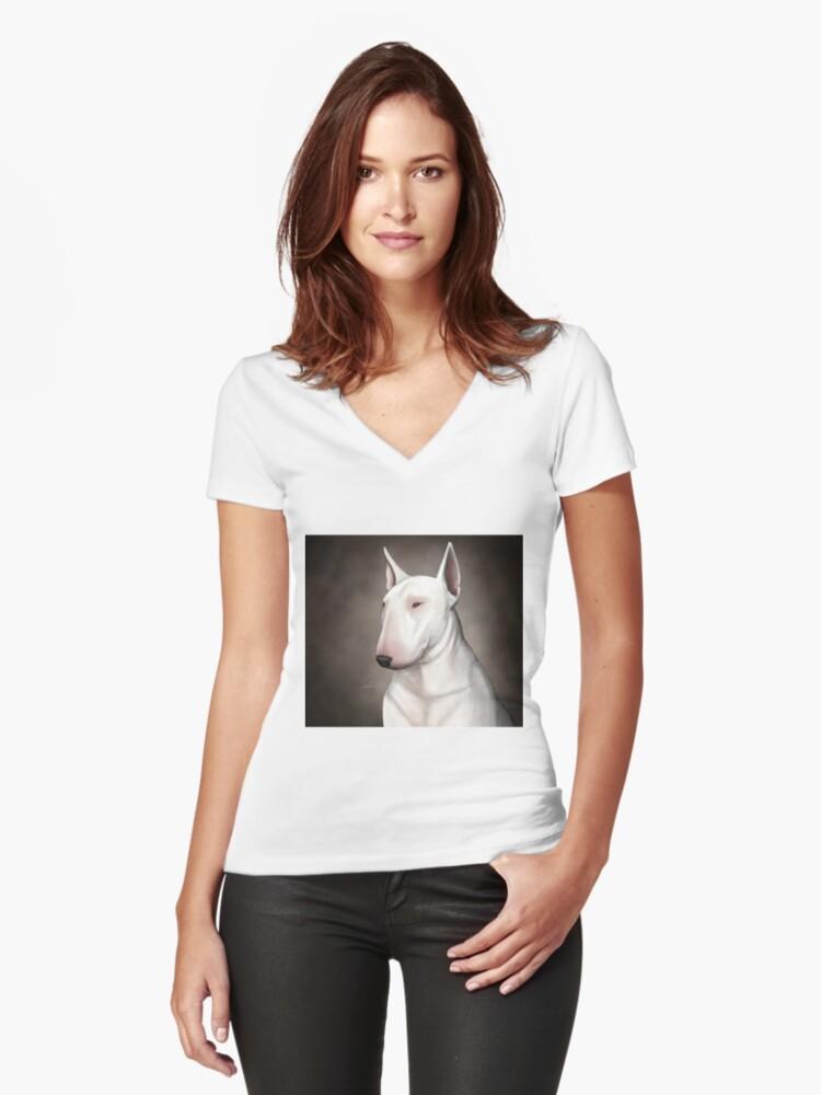 Bull Terrier Women's Fitted V-Neck T-Shirt Front