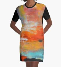 Red abstract sunset landscape painting Graphic T-Shirt Dress