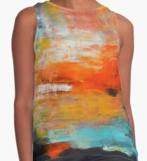 Red abstract sunset landscape painting Contrast Tank