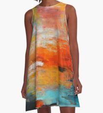 Red abstract sunset landscape painting A-Line Dress