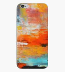 Red abstract sunset landscape painting iPhone Case
