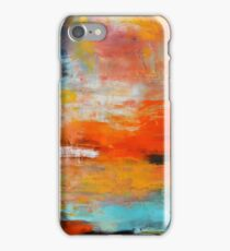 Red abstract sunset landscape painting iPhone Case/Skin