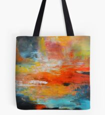 Red abstract sunset landscape painting Tote Bag