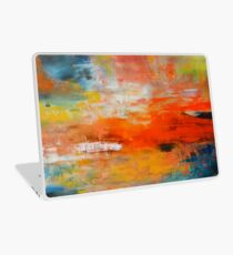 Red abstract sunset landscape painting Laptop Skin