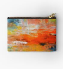 Red abstract sunset landscape painting Studio Pouch