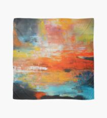 Red abstract sunset landscape painting Scarf