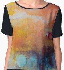 Blue Lake,Orange Abstract Giclee print,Orange Blue Giclee,Abstract Painting,Large Abstract Painting,Red Blue Art Print,Pink wall art Women's Chiffon Top