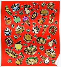 Cartoon Essen Rot Poster