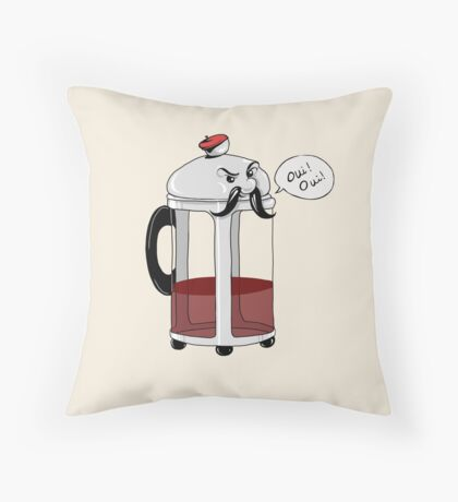 French Cafepress - Coffee Lovers Oui Oui Throw Pillow