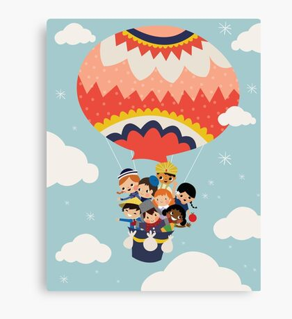 It's Our Small Little World Hot Air Balloon Kids Canvas Print