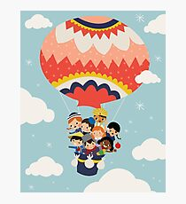 It's Our Small Little World Hot Air Balloon Kids Photographic Print