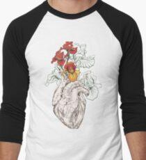 drawing Human heart with flowers Baseball ¾ Sleeve T-Shirt