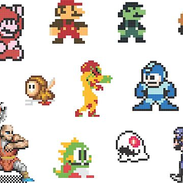 8-bit Characters Sticker Sheet by EsotericExposal