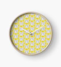 French bulldog face in solid gray by Smooshface United Clock