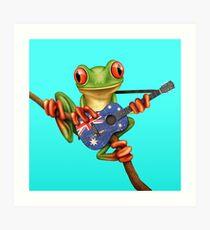 Baum-Frosch, der australische Gitarre spielt Kunstdruck