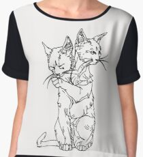 polycephalic cat (black lines) Women's Chiffon Top