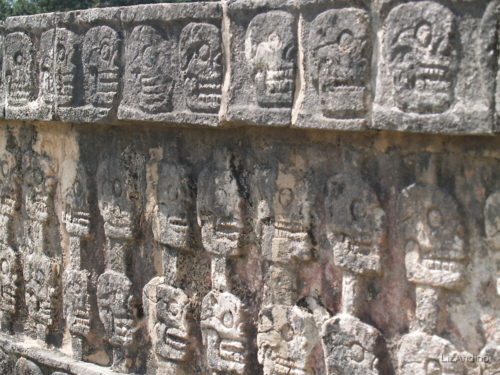 Wall of Skulls, Chichen Itza by LizAndino