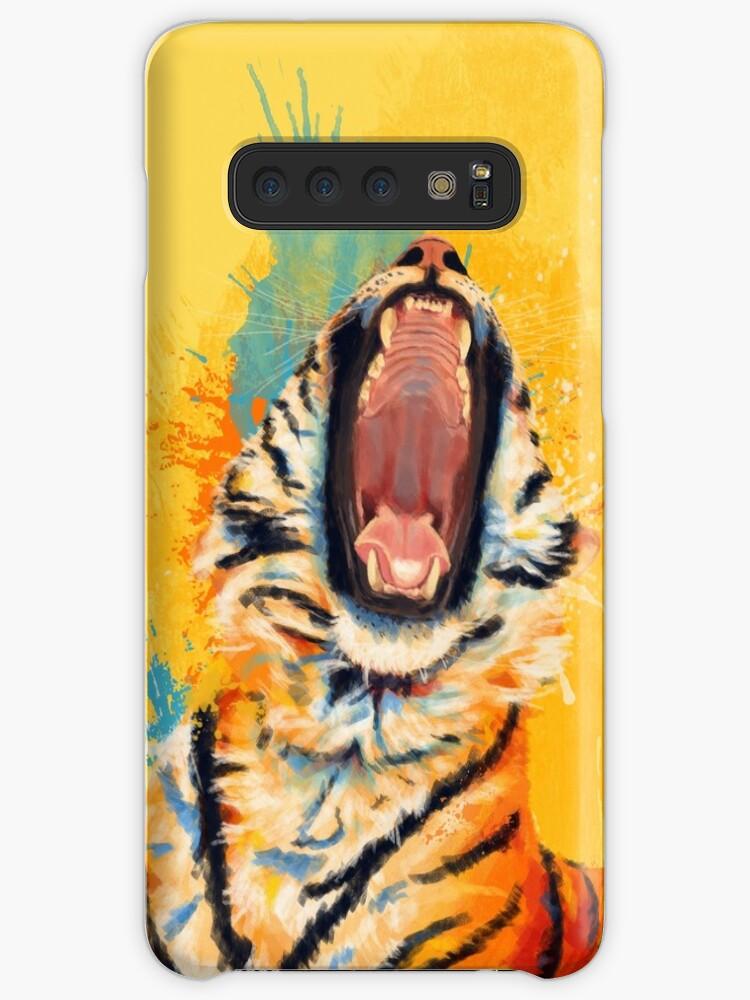 Wildes Gähn - Tigerporträt, bunter Tiger, Tierillustration von floartstudio