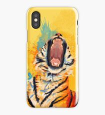 Wild Yawn - Tiger portrait, colorful tiger, animal illustration iPhone Case/Skin