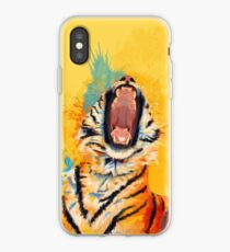Wild Yawn - Tiger portrait, colorful tiger, animal illustration iPhone Case