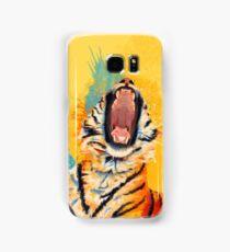 Wild Yawn - Tiger portrait, colorful tiger, animal illustration Samsung Galaxy Case/Skin