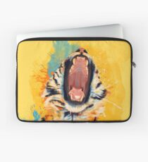 Wild Yawn - Tiger portrait, colorful tiger, animal illustration Laptop Sleeve