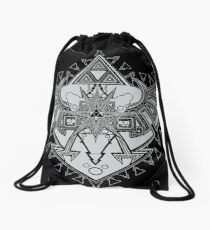 Heart Shield Triforce Silver 2/3 Drawstring Bag
