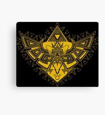 Heart Shield Triforce Gold 3/3 Canvas Print