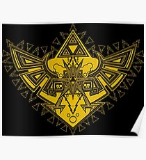 Heart Shield Triforce Gold 3/3 Poster