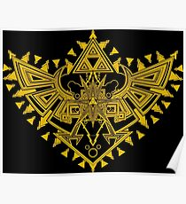 Heart Shield Triforce Gold 2/3 Poster