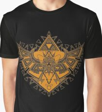 Heart Shield Triforce Bronce Gold 3/3 Graphic T-Shirt