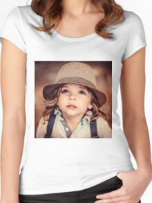 Child Looking up Girl Hat Vintage Portrait                                         Women's Fitted Scoop T-Shirt