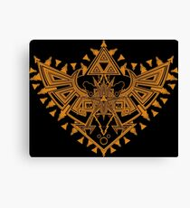 Heart Shield Triforce Bronce Gold 2/3 Canvas Print