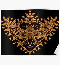 Heart Shield Triforce Bronce Gold 2/3 Poster