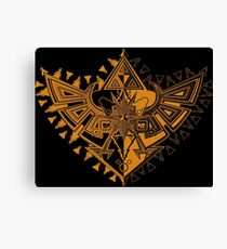 Heart Shield Triforce Bronce Gold 1/2 Canvas Print