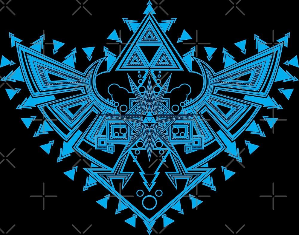 Heart Shield Triforce Cyan 2/3 by ArelArts