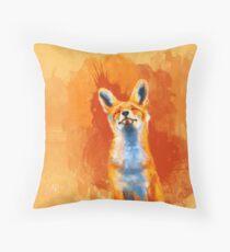 Happy Fox - fox illustration, animal art, happiness Throw Pillow