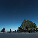 Haystack Rock Under the Full Moon Light by Jim Stiles