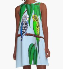Budgies in the Gumtree A-Line Dress