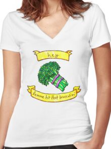 lemme hit that broccolini Women's Fitted V-Neck T-Shirt